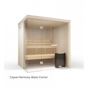 Сауна Harmony Glass Corner из осины 1670 x 1670